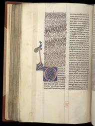 Decorated Initial, In Aristotle's 'Metaphysics' With The Commentary Of Averroes, And 'Ethics' f.105v